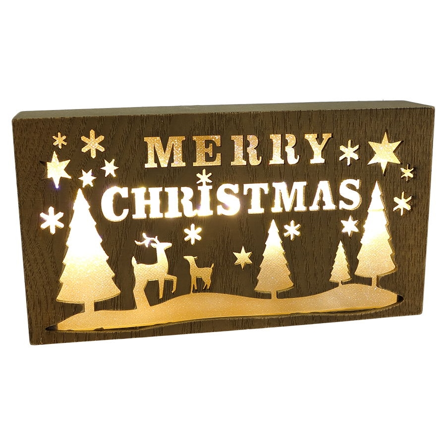 merry christmas lighted box sign