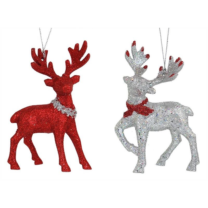 Red & Silver Deer Ornaments Set/2