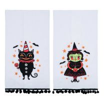 Black Cat & Witch Tea Towels Set/2