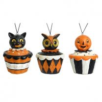 Smiling Halloween Character Cupcake Ornaments Set/3