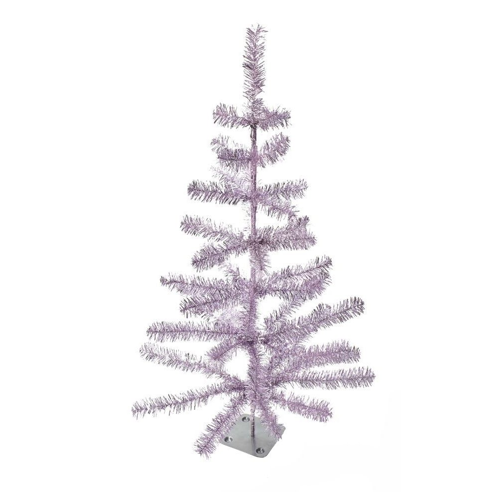 Light Pink Tinsel Tree On Metal Base