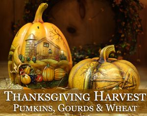 Thanksgiving Harvest Pumpkins, Gourds & Wheat