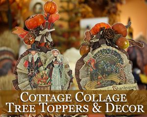 Cottage Collage Thanksgiving Tree Toppers or Decorations