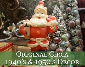 original circa 1940s and 1950s vintage christmas decor