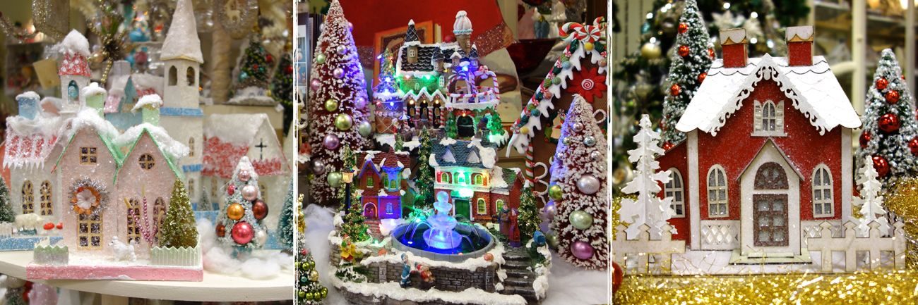vintage reproduction christmas village houses